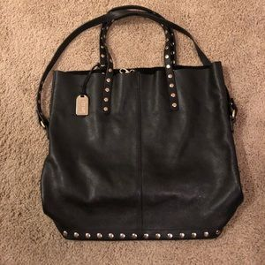 Levity Faux Black Leather Tote Bag